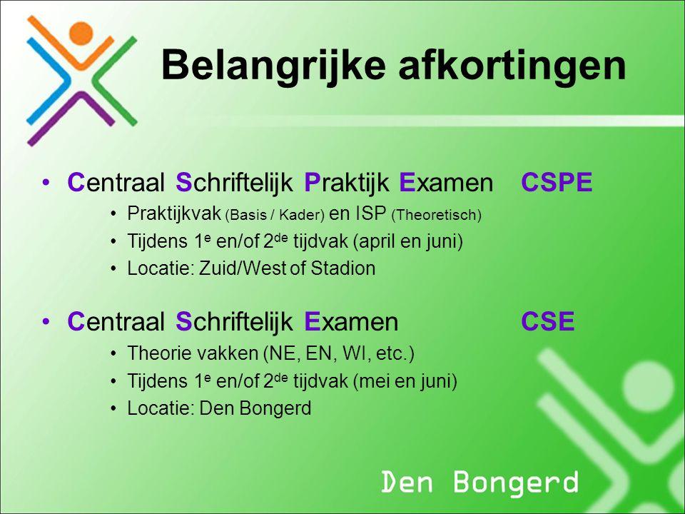 Belangrijke afkortingen Centraal Schriftelijk Praktijk ExamenCSPE Praktijkvak (Basis / Kader) en ISP (Theoretisch) Tijdens 1 e en/of 2 de tijdvak (apr