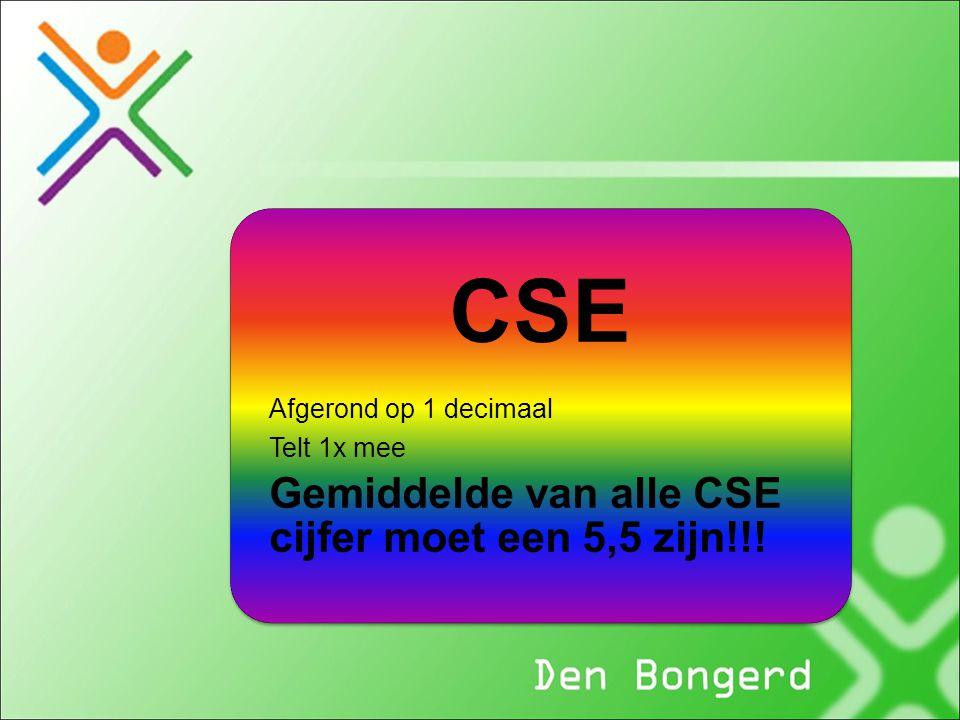 CSE Afgerond op 1 decimaal Telt 1x mee Gemiddelde van alle CSE cijfer moet een 5,5 zijn!!!