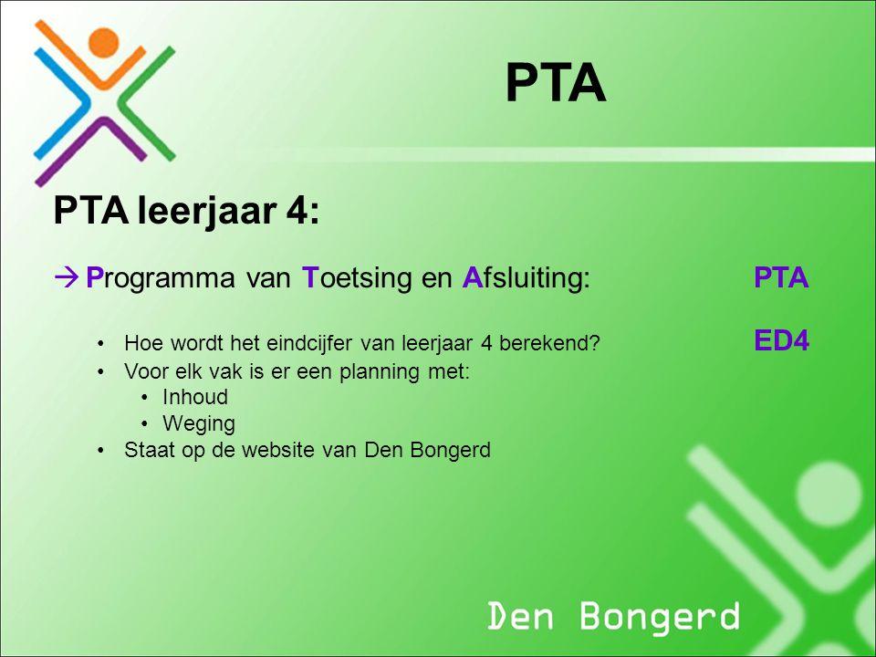 PTA PTA leerjaar 4:  Programma van Toetsing en Afsluiting: PTA Hoe wordt het eindcijfer van leerjaar 4 berekend? ED4 Voor elk vak is er een planning