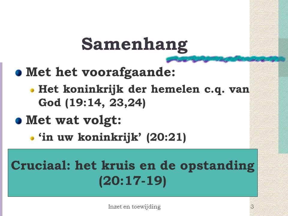 Inzet en toewijding3 Samenhang Met het voorafgaande: Het koninkrijk der hemelen c.q.