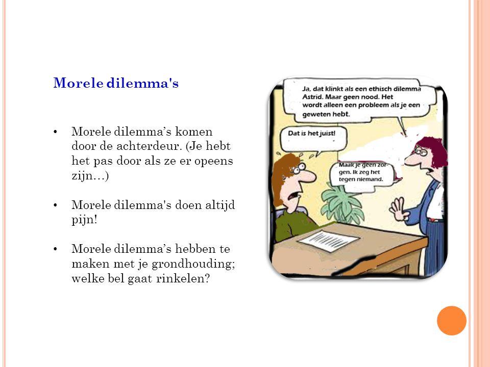 Morele dilemma s Morele dilemma's komen door de achterdeur.