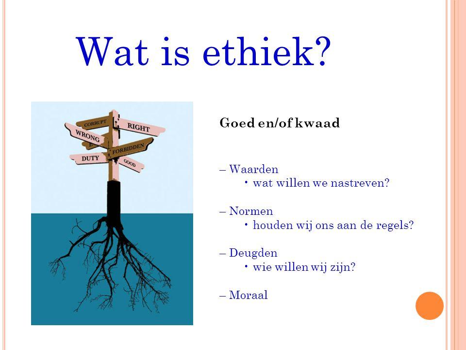 Wat is ethiek.Goed en/of kwaad – Waarden wat willen we nastreven.