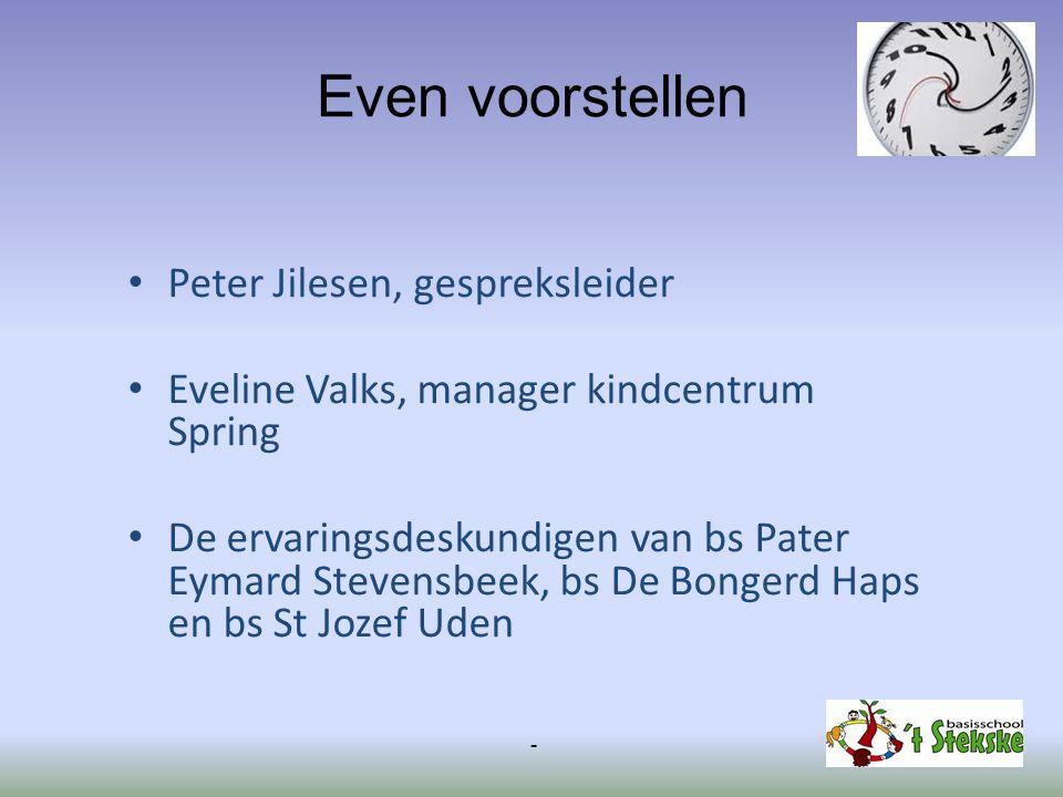 Even voorstellen Peter Jilesen, gespreksleider Eveline Valks, manager kindcentrum Spring De ervaringsdeskundigen van bs Pater Eymard Stevensbeek, bs D
