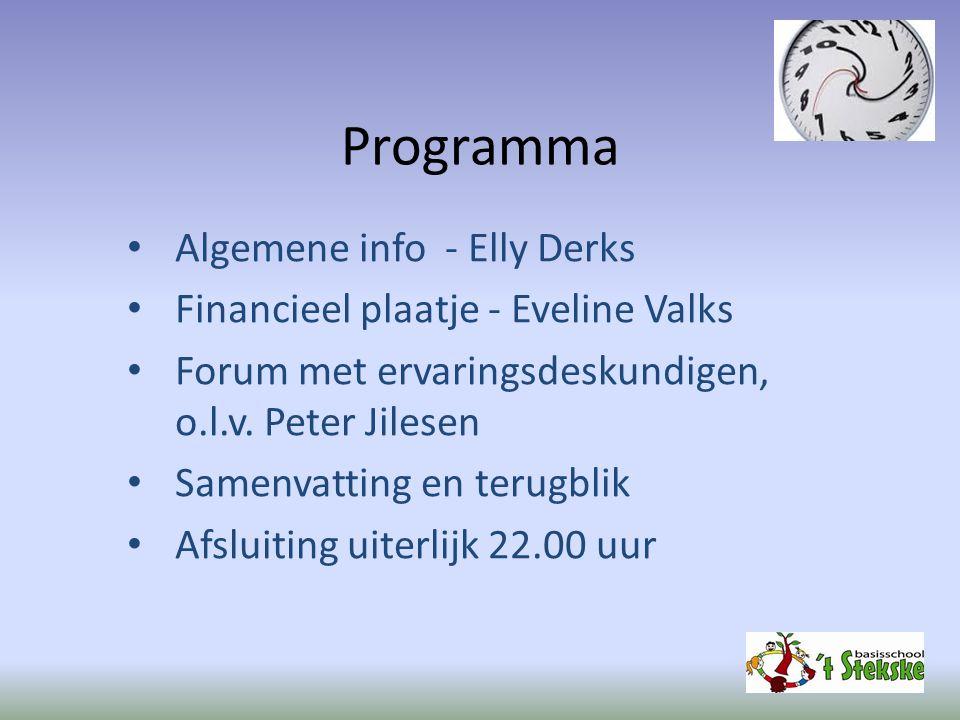 Programma Algemene info - Elly Derks Financieel plaatje - Eveline Valks Forum met ervaringsdeskundigen, o.l.v. Peter Jilesen Samenvatting en terugblik
