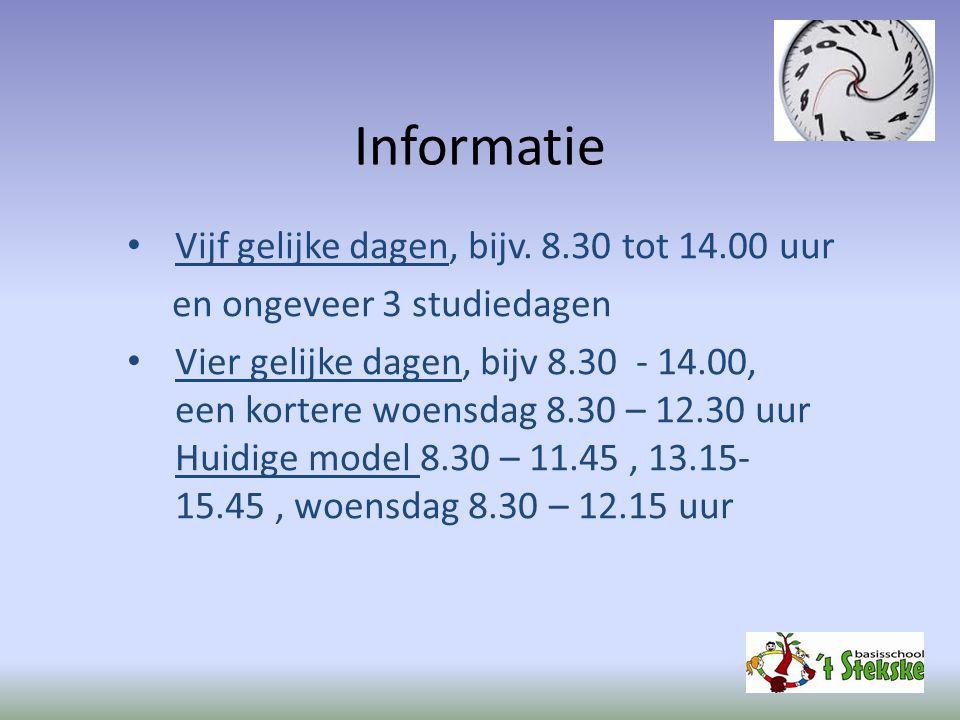 Informatie Vijf gelijke dagen, bijv. 8.30 tot 14.00 uur en ongeveer 3 studiedagen Vier gelijke dagen, bijv 8.30 - 14.00, een kortere woensdag 8.30 – 1