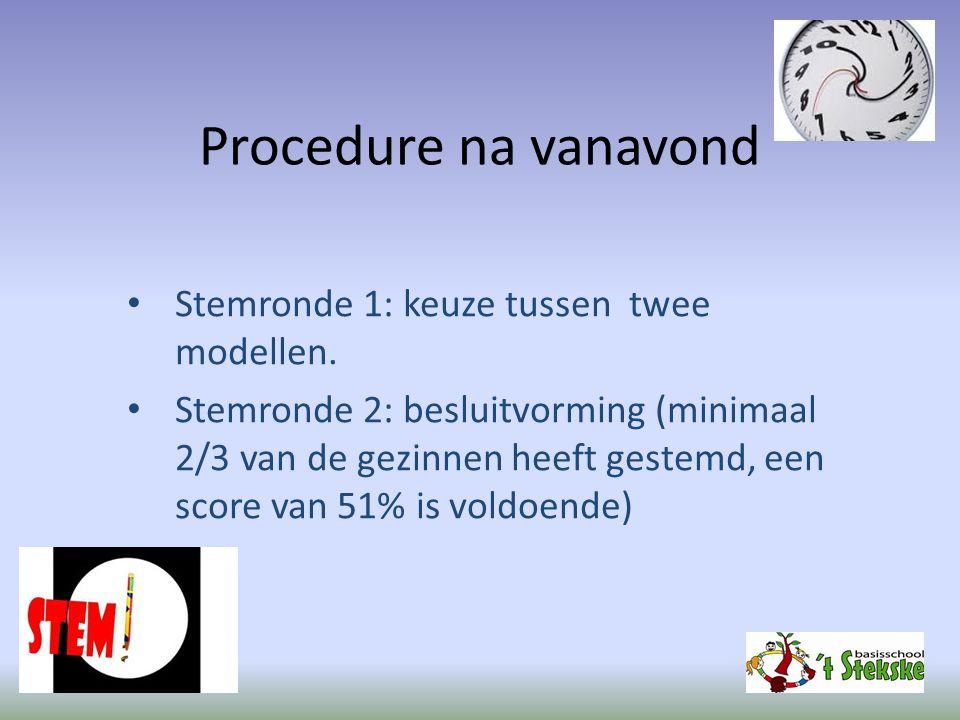 Procedure na vanavond Stemronde 1: keuze tussen twee modellen. Stemronde 2: besluitvorming (minimaal 2/3 van de gezinnen heeft gestemd, een score van