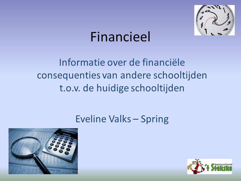 Financieel Informatie over de financiële consequenties van andere schooltijden t.o.v. de huidige schooltijden Eveline Valks – Spring