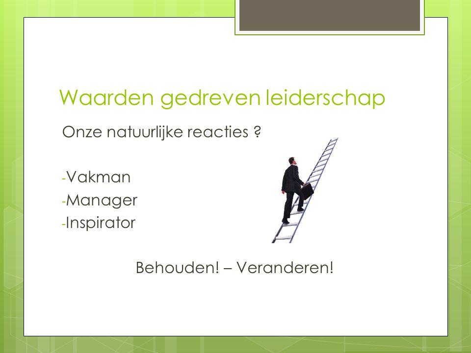 Waarden gedreven leiderschap Onze natuurlijke reacties ? - Vakman - Manager - Inspirator Behouden! – Veranderen!