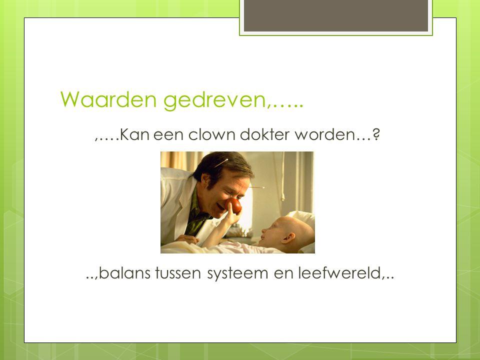 Waarden gedreven,…..,….Kan een clown dokter worden…?..,balans tussen systeem en leefwereld,..
