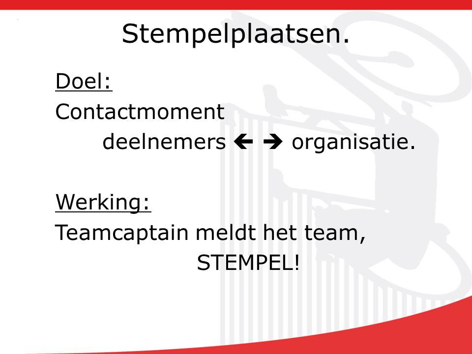 Stempelplaatsen. Doel: Contactmoment deelnemers   organisatie.