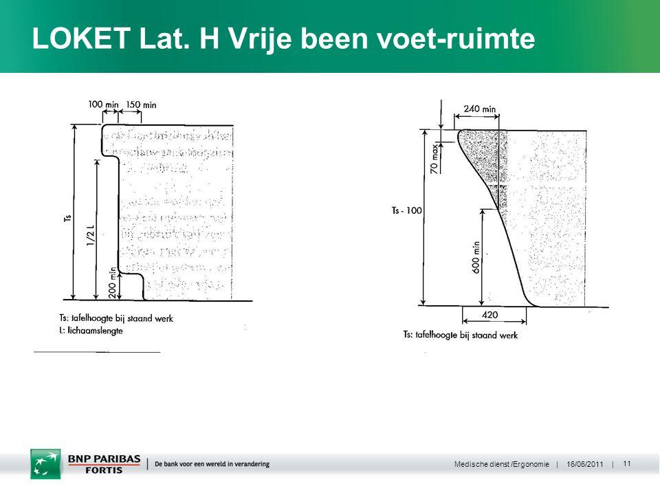 | 16/06/2011 | Medische dienst /Ergonomie 11 LOKET Lat. H Vrije been voet-ruimte