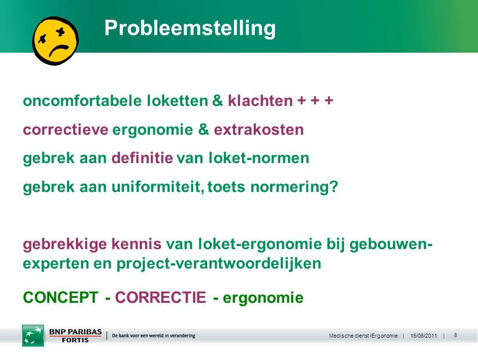 | 16/06/2011 | Medische dienst /Ergonomie 8 Probleemstelling oncomfortabele loketten & klachten + + + correctieve ergonomie & extrakosten gebrek aan definitie van loket-normen gebrek aan uniformiteit, toets normering.