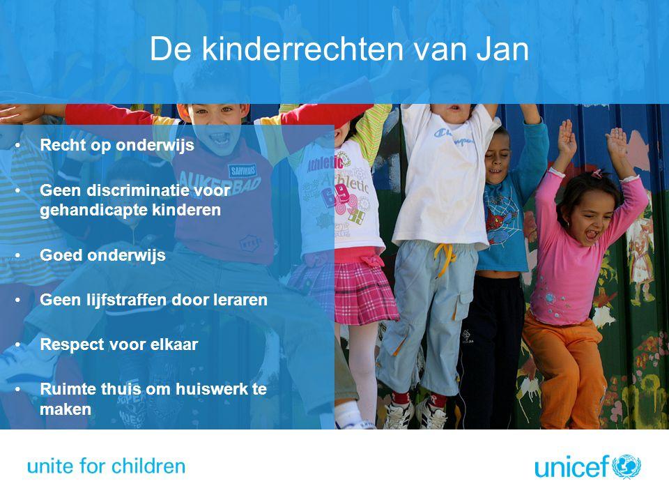Recht op onderwijs Geen discriminatie voor gehandicapte kinderen Goed onderwijs Geen lijfstraffen door leraren Respect voor elkaar Ruimte thuis om hui