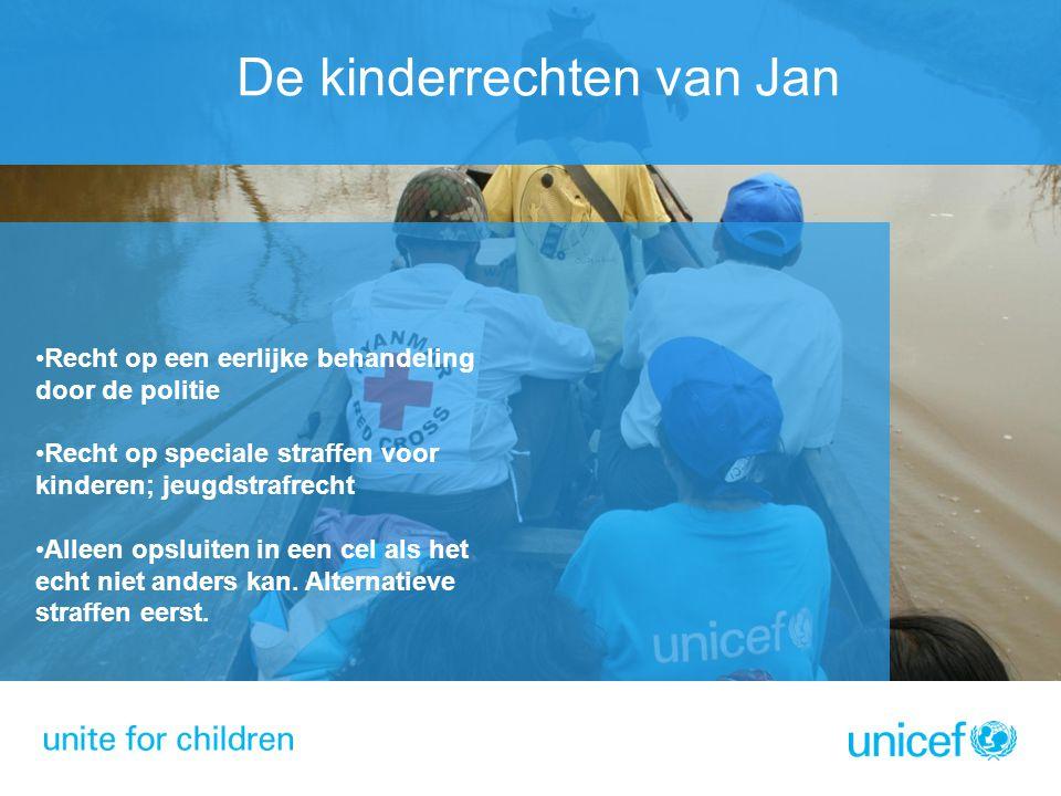 De kinderrechten van Jan Recht op een eerlijke behandeling door de politie Recht op speciale straffen voor kinderen; jeugdstrafrecht Alleen opsluiten