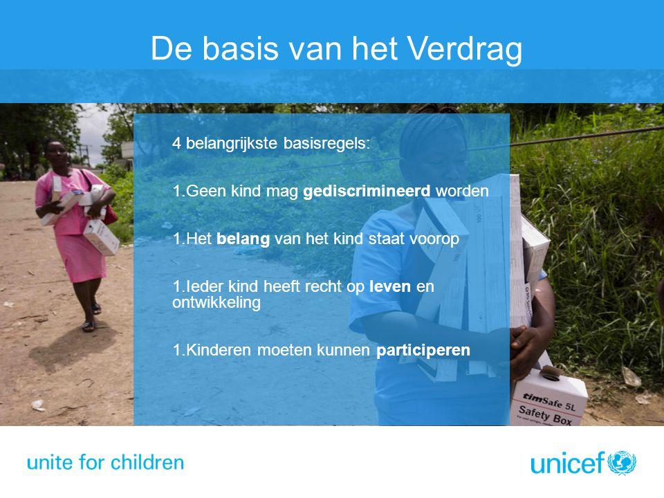 De basis van het Verdrag 4 belangrijkste basisregels: 1.Geen kind mag gediscrimineerd worden 1.Het belang van het kind staat voorop 1.Ieder kind heeft