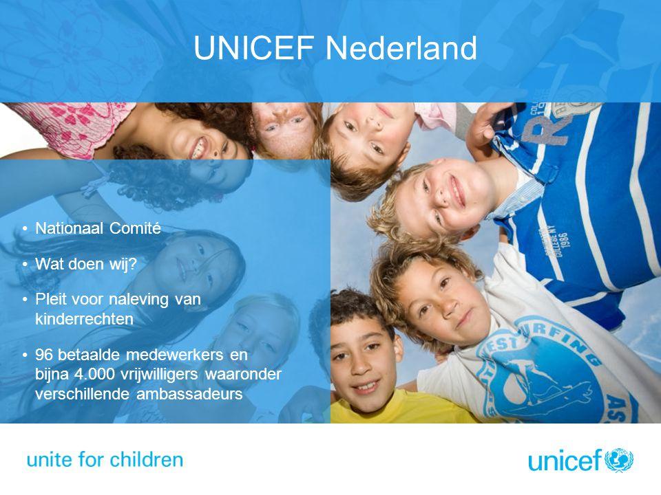 UNICEF Nederland Nationaal Comité Wat doen wij? Pleit voor naleving van kinderrechten 96 betaalde medewerkers en bijna 4.000 vrijwilligers waaronder v