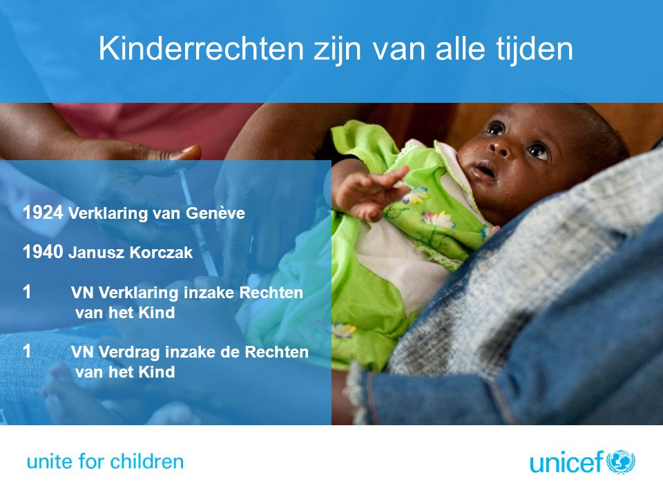 Kinderrechten zijn van alle tijden 1924 Verklaring van Genève 1940 Janusz Korczak 1 VN Verklaring inzake Rechten van het Kind 1 VN Verdrag inzake de R
