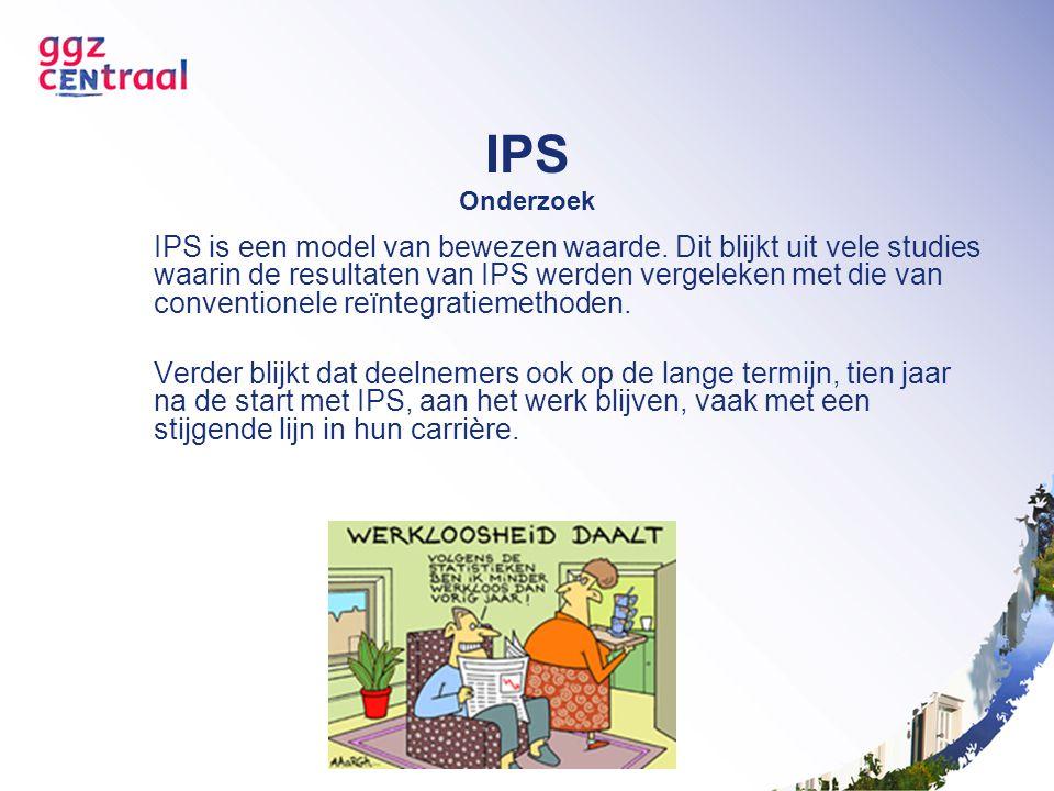 IPS Onderzoek IPS is een model van bewezen waarde. Dit blijkt uit vele studies waarin de resultaten van IPS werden vergeleken met die van conventionel