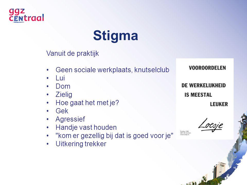 Stigma Vanuit de praktijk Geen sociale werkplaats, knutselclub Lui Dom Zielig Hoe gaat het met je? Gek Agressief Handje vast houden