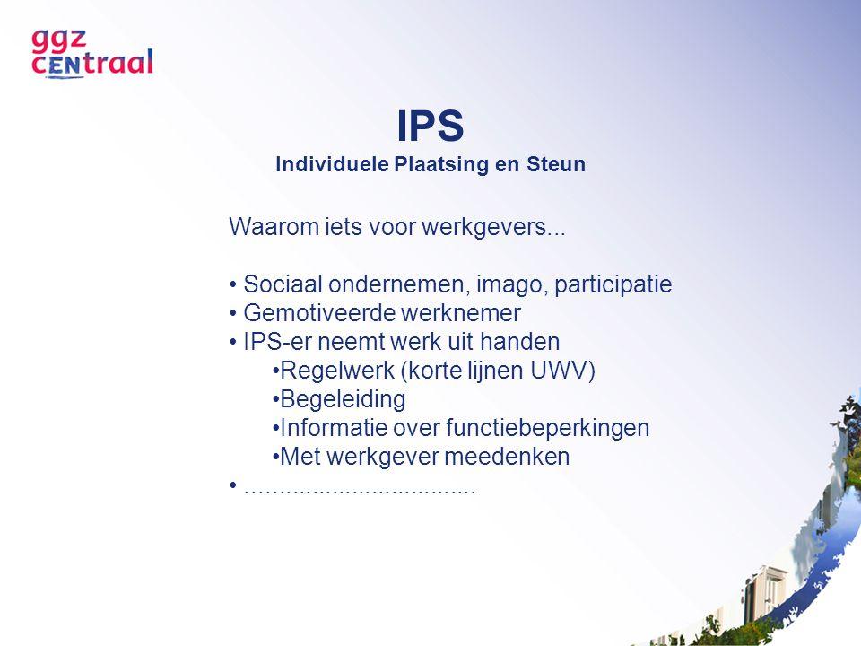 IPS Individuele Plaatsing en Steun Waarom iets voor werkgevers... Sociaal ondernemen, imago, participatie Gemotiveerde werknemer IPS-er neemt werk uit