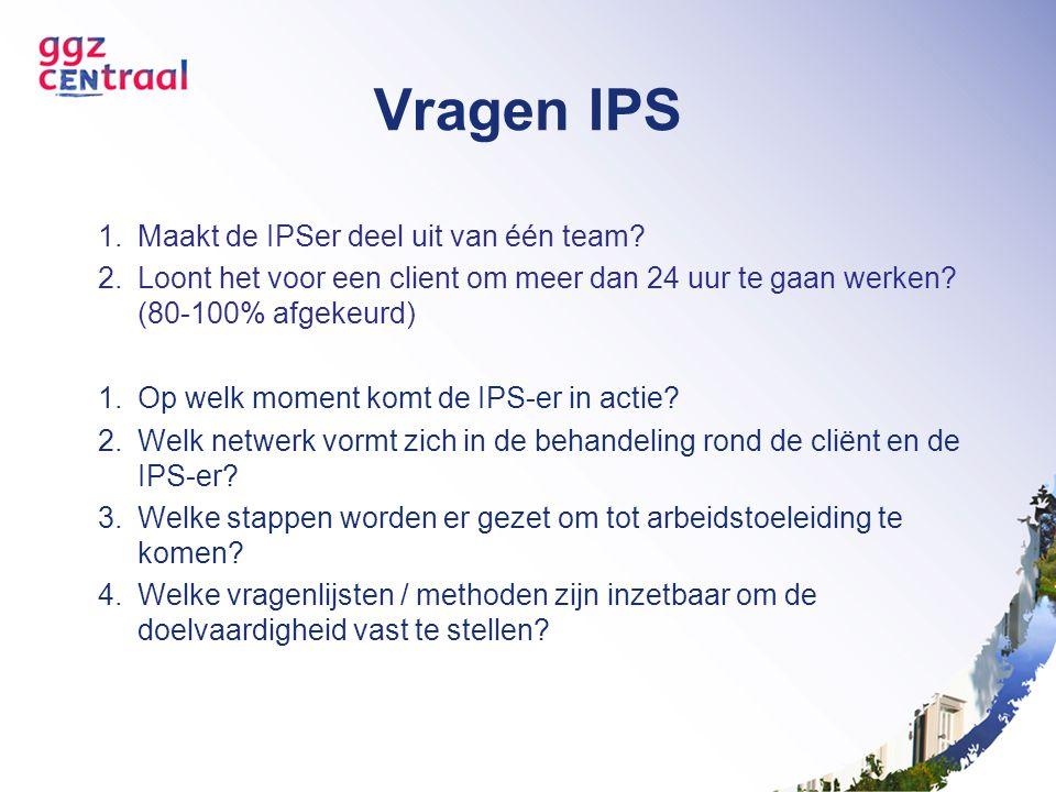 Vragen IPS 1.Maakt de IPSer deel uit van één team? 2.Loont het voor een client om meer dan 24 uur te gaan werken? (80-100% afgekeurd) 1.Op welk moment