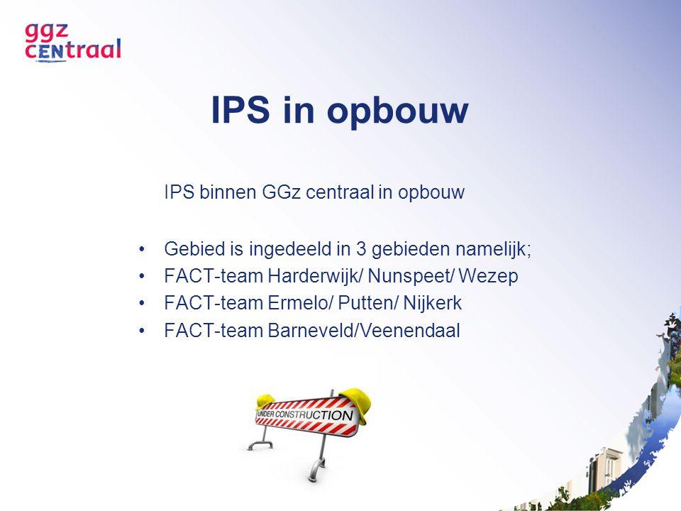 IPS in opbouw IPS binnen GGz centraal in opbouw Gebied is ingedeeld in 3 gebieden namelijk; FACT-team Harderwijk/ Nunspeet/ Wezep FACT-team Ermelo/ Pu