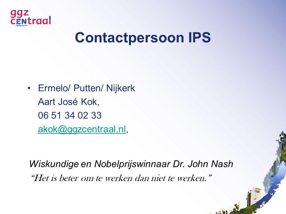 Contactpersoon IPS Ermelo/ Putten/ Nijkerk Aart José Kok, 06 51 34 02 33 akok@ggzcentraal.nlakok@ggzcentraal.nl, Wiskundige en Nobelprijswinnaar Dr. J