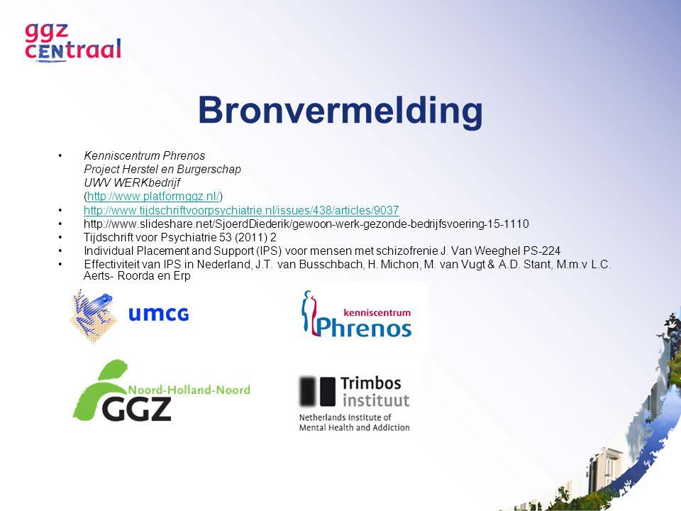 Bronvermelding Kenniscentrum Phrenos Project Herstel en Burgerschap UWV WERKbedrijf (http://www.platformggz.nl/)http://www.platformggz.nl/ http://www.