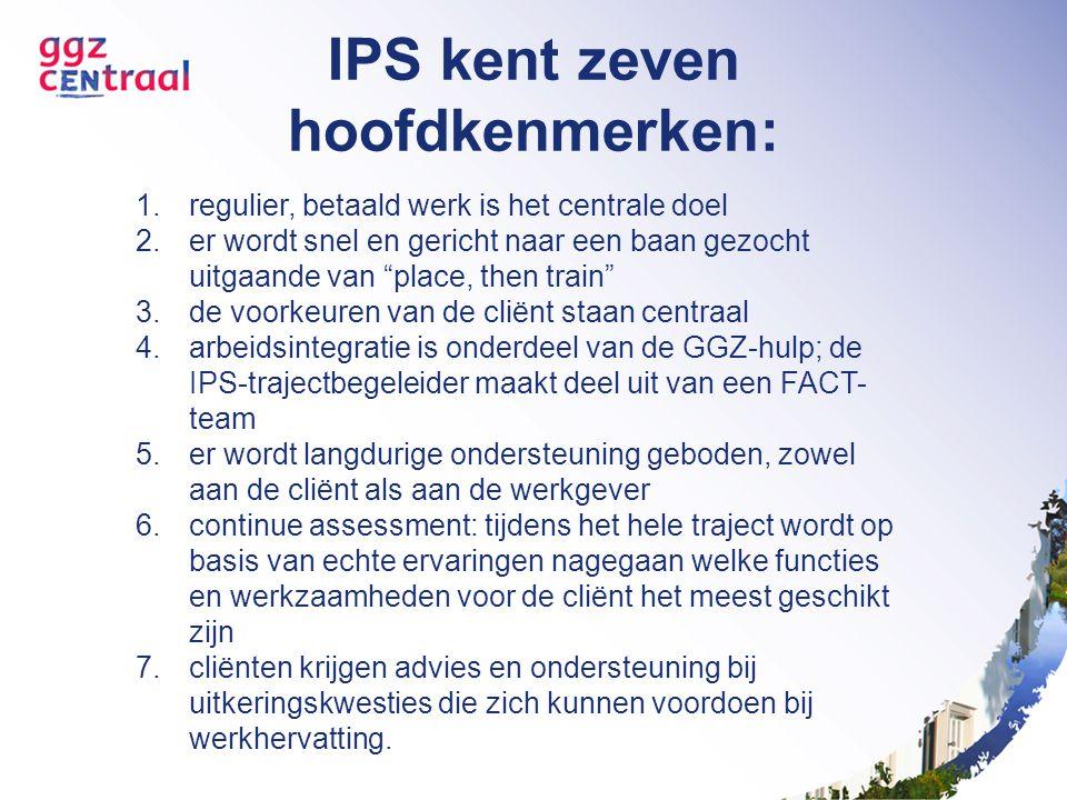 """IPS kent zeven hoofdkenmerken: 1.regulier, betaald werk is het centrale doel 2.er wordt snel en gericht naar een baan gezocht uitgaande van """"place, th"""
