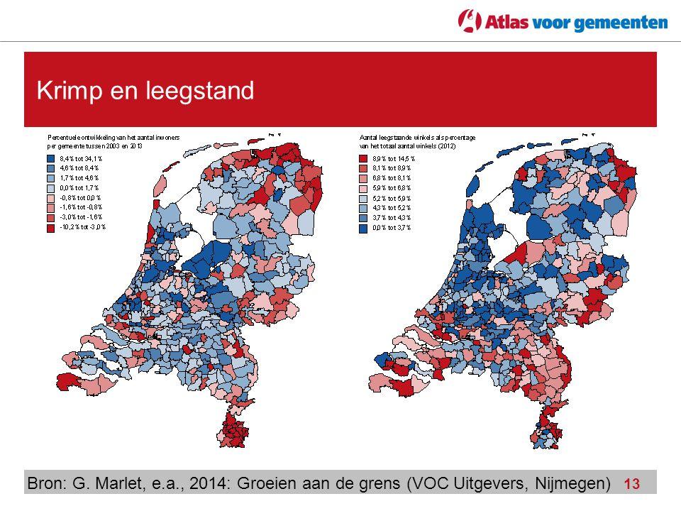 13 Krimp en leegstand Bron: G. Marlet, e.a., 2014: Groeien aan de grens (VOC Uitgevers, Nijmegen)