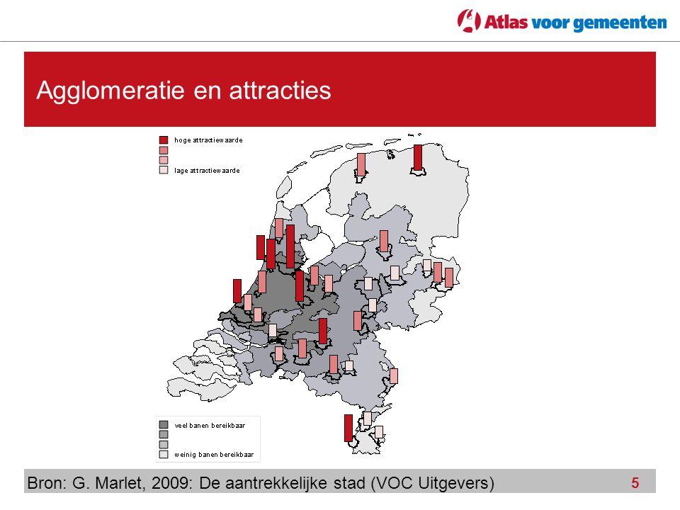 5 Agglomeratie en attracties Bron: G. Marlet, 2009: De aantrekkelijke stad (VOC Uitgevers)