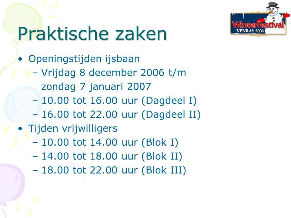 Praktische zaken Openingstijden ijsbaan –Vrijdag 8 december 2006 t/m zondag 7 januari 2007 –10.00 tot 16.00 uur (Dagdeel I) –16.00 tot 22.00 uur (Dagdeel II) Tijden vrijwilligers –10.00 tot 14.00 uur (Blok I) –14.00 tot 18.00 uur (Blok II) –18.00 tot 22.00 uur (Blok III)