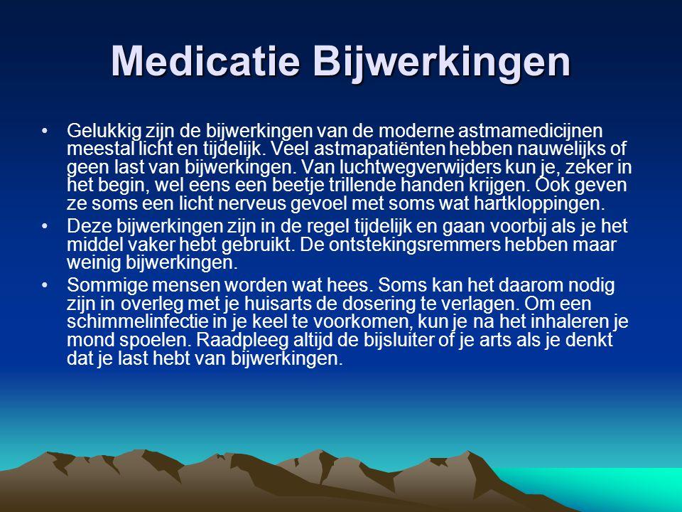 Medicatie Bijwerkingen Gelukkig zijn de bijwerkingen van de moderne astmamedicijnen meestal licht en tijdelijk. Veel astmapatiënten hebben nauwelijks