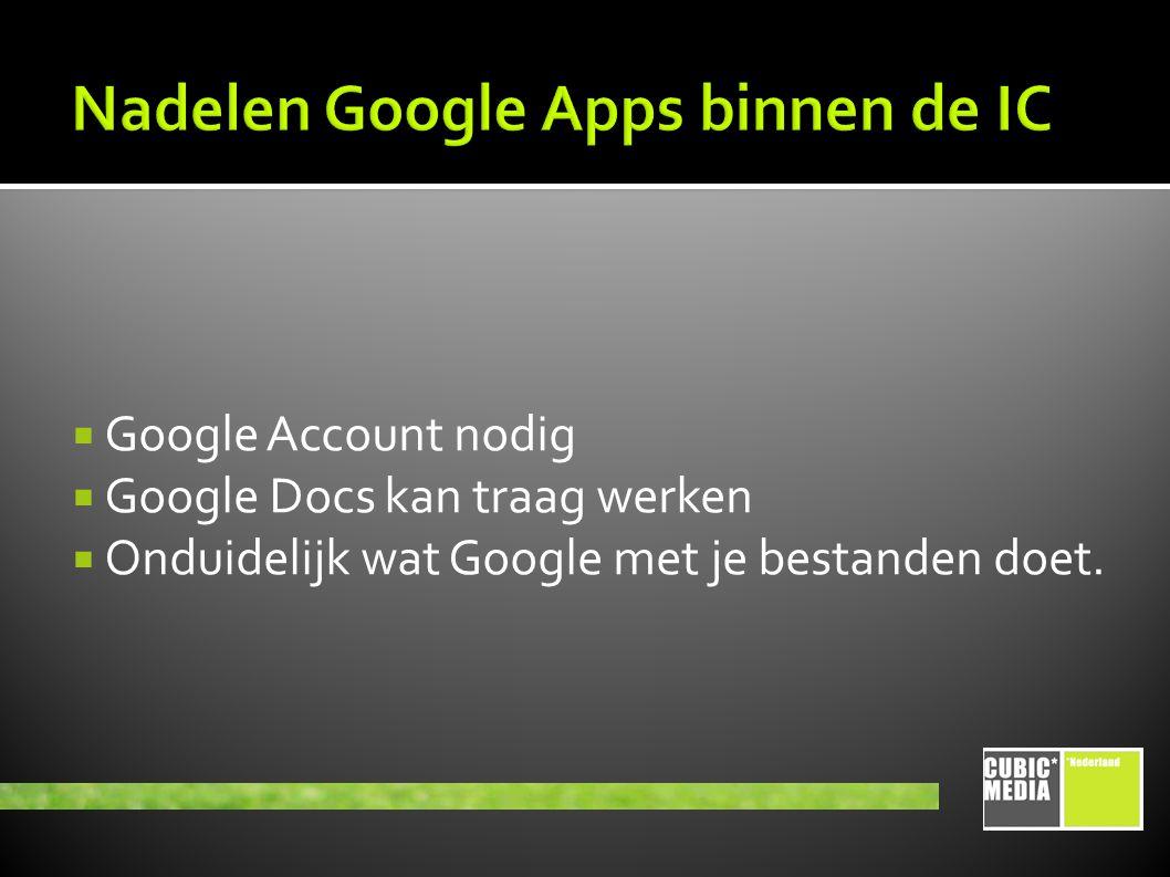  Google Account nodig  Google Docs kan traag werken  Onduidelijk wat Google met je bestanden doet.
