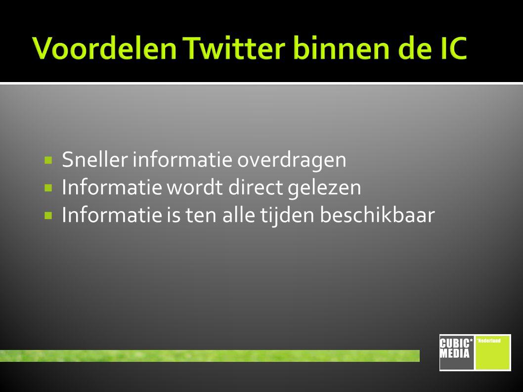  Sneller informatie overdragen  Informatie wordt direct gelezen  Informatie is ten alle tijden beschikbaar