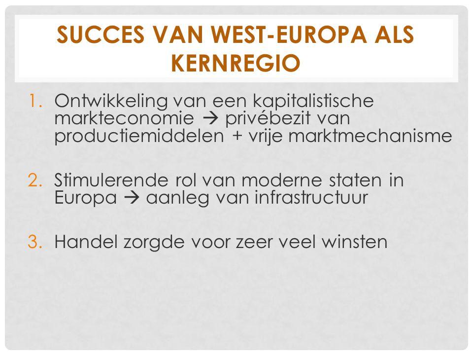 SUCCES VAN WEST-EUROPA ALS KERNREGIO 1.Ontwikkeling van een kapitalistische markteconomie  privébezit van productiemiddelen + vrije marktmechanisme 2