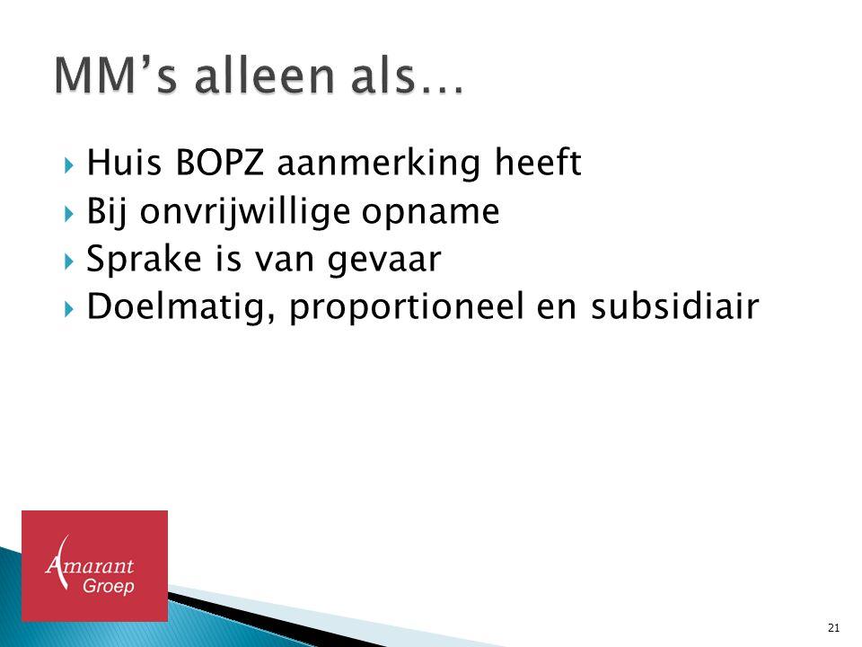  Huis BOPZ aanmerking heeft  Bij onvrijwillige opname  Sprake is van gevaar  Doelmatig, proportioneel en subsidiair 21