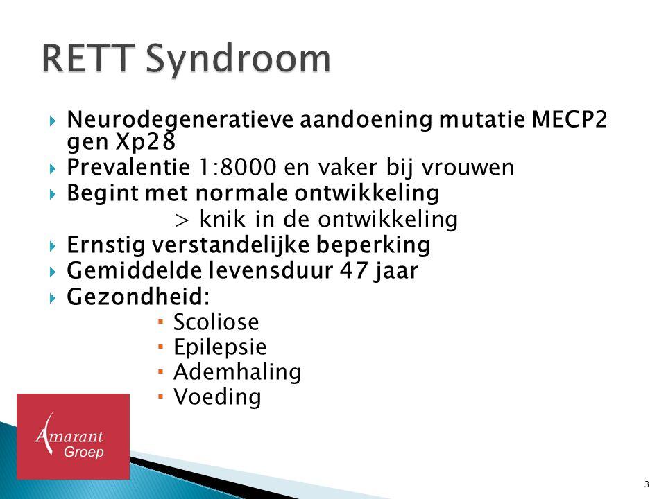  Neurodegeneratieve aandoening mutatie MECP2 gen Xp28  Prevalentie 1:8000 en vaker bij vrouwen  Begint met normale ontwikkeling > knik in de ontwik