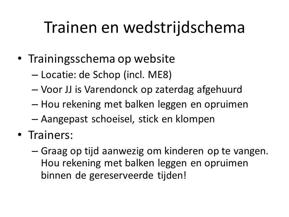 Trainen en wedstrijdschema Trainingsschema op website – Locatie: de Schop (incl. ME8) – Voor JJ is Varendonck op zaterdag afgehuurd – Hou rekening met