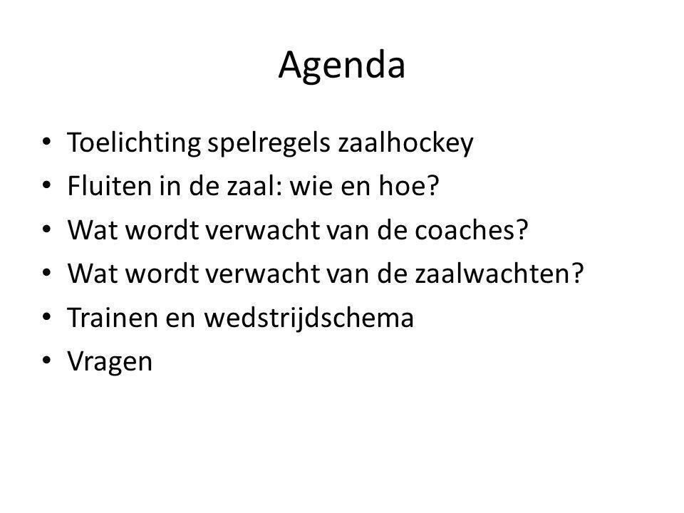 Agenda Toelichting spelregels zaalhockey Fluiten in de zaal: wie en hoe? Wat wordt verwacht van de coaches? Wat wordt verwacht van de zaalwachten? Tra
