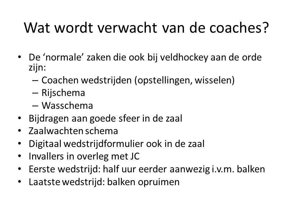Wat wordt verwacht van de coaches? De 'normale' zaken die ook bij veldhockey aan de orde zijn: – Coachen wedstrijden (opstellingen, wisselen) – Rijsch