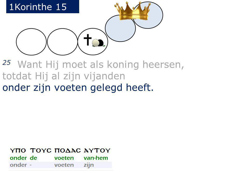 25 Want Hij moet als koning heersen, totdat Hij al zijn vijanden onder zijn voeten gelegd heeft.