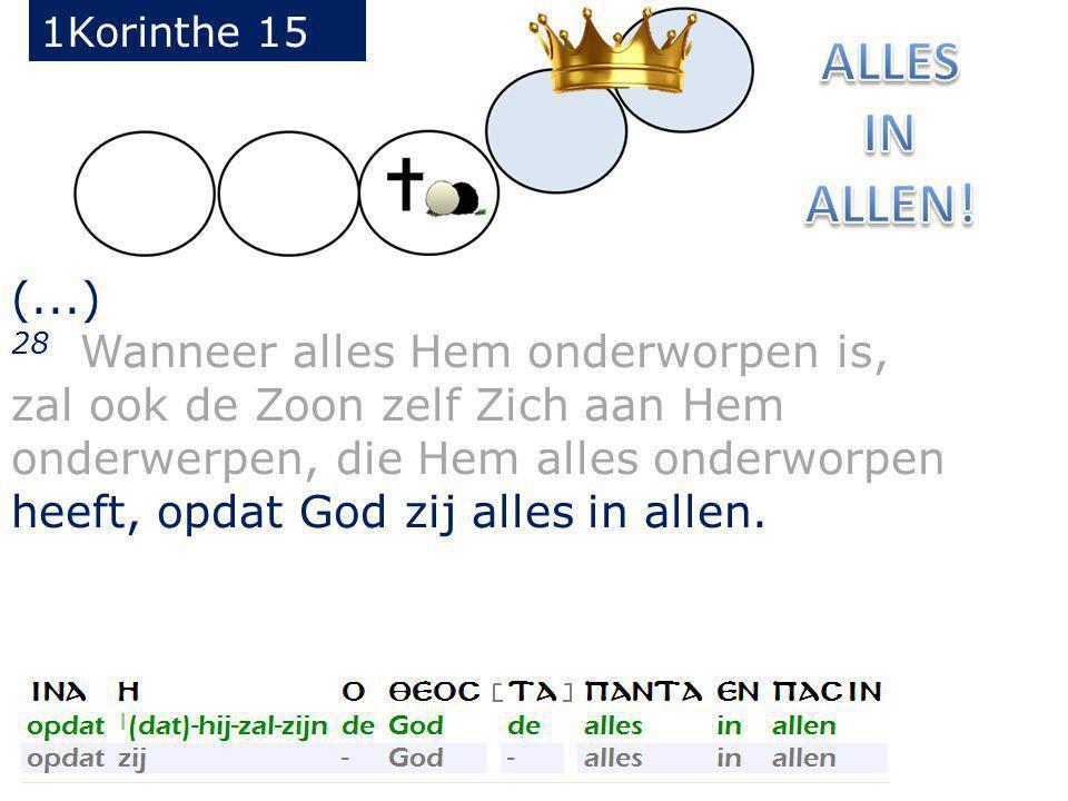 (...) 28 Wanneer alles Hem onderworpen is, zal ook de Zoon zelf Zich aan Hem onderwerpen, die Hem alles onderworpen heeft, opdat God zij alles in allen.