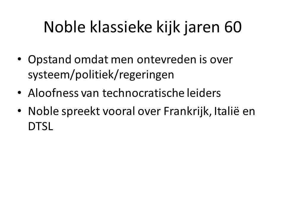 Noble klassieke kijk jaren 60 Opstand omdat men ontevreden is over systeem/politiek/regeringen Aloofness van technocratische leiders Noble spreekt voo
