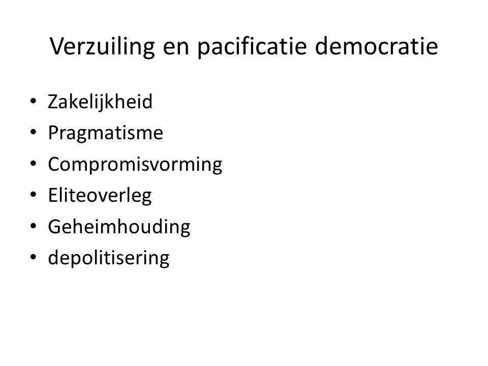 Verzuiling en pacificatie democratie Zakelijkheid Pragmatisme Compromisvorming Eliteoverleg Geheimhouding depolitisering