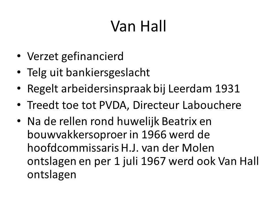 Verzet gefinancierd Telg uit bankiersgeslacht Regelt arbeidersinspraak bij Leerdam 1931 Treedt toe tot PVDA, Directeur Labouchere Na de rellen rond huwelijk Beatrix en bouwvakkersoproer in 1966 werd de hoofdcommissaris H.J.