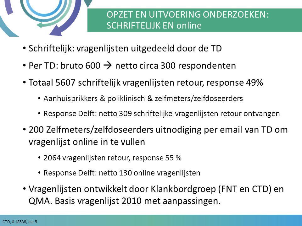 CTD, # 18538, dia 6 RESULTATEN 6 In de grafieken zijn, indien van toepassing, 3 soorten gegevens verwerkt: 1Totaal, dit zijn alle resultaten tezamen van 19 trombosediensten, zowel de resultaten van de schriftelijke als de online vragenlijst.