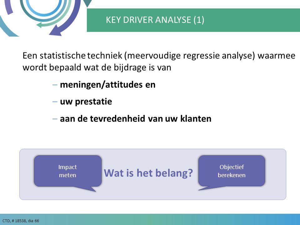 CTD, # 18538, dia 66 KEY DRIVER ANALYSE (1) Een statistische techniek (meervoudige regressie analyse) waarmee wordt bepaald wat de bijdrage is van –meningen/attitudes en –uw prestatie –aan de tevredenheid van uw klanten Impact meten Objectief berekenen Wat is het belang?