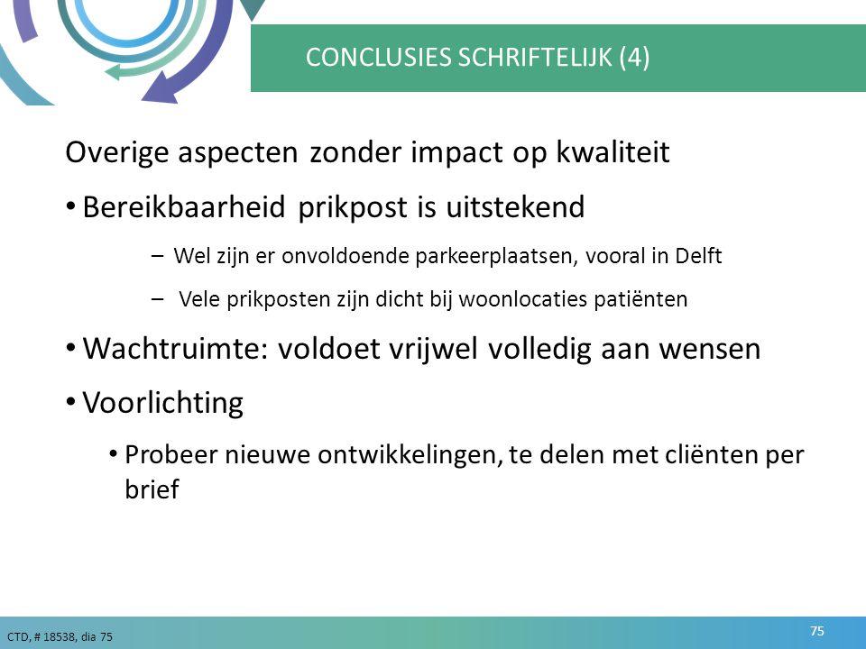 CTD, # 18538, dia 75 CONCLUSIES SCHRIFTELIJK (4) Overige aspecten zonder impact op kwaliteit Bereikbaarheid prikpost is uitstekend –Wel zijn er onvoldoende parkeerplaatsen, vooral in Delft – Vele prikposten zijn dicht bij woonlocaties patiënten Wachtruimte: voldoet vrijwel volledig aan wensen Voorlichting Probeer nieuwe ontwikkelingen, te delen met cliënten per brief 75