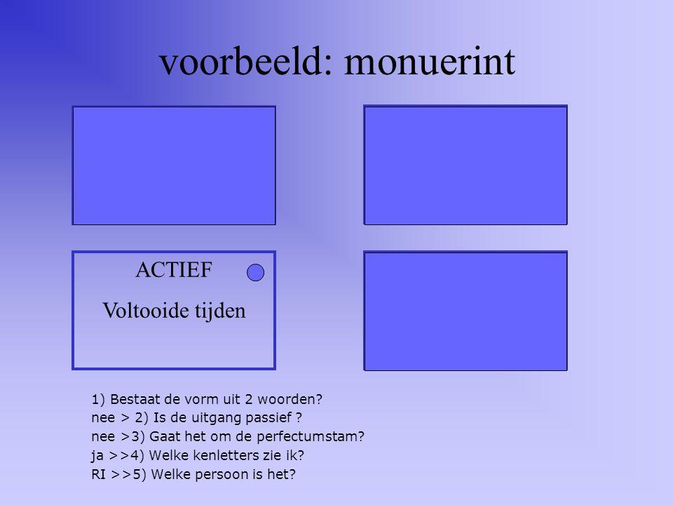 voorbeeld: amati eratis ACTIEF Onvoltooide tijden Passief Onvoltooide tijden ACTIEF Voltooide tijden Passief Voltooide tijden 1) Bestaat de vorm uit 2